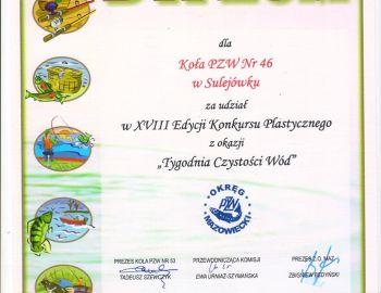 """Dyplom - konkurs plastyczny   """"Tydzień czystości wód"""""""